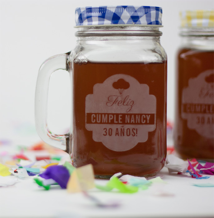 Mason jar con grabado personalizado de 480ml