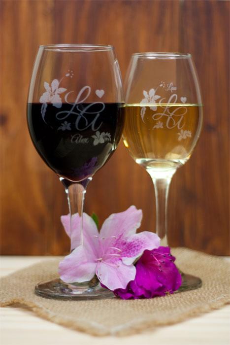 Copas para vino personalizadas en láser